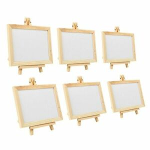 Mini Message Board - 6-Pack Wooden Framed White Chalkboard Sign with Easel Stand