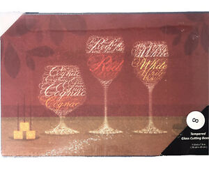 New TEMPERED GLASS Cutting Board WINE & CHEESE - 11.8