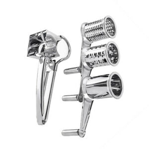 Stainless Steel Cheese Grater Hand Crank Rotary Vegetable Grinder w 3 Drum Blade