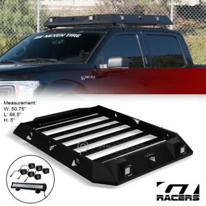For 2015+ F1502017+ F250 Crew Blk Modular Steel Roof Tray Basket+LED Light Bars