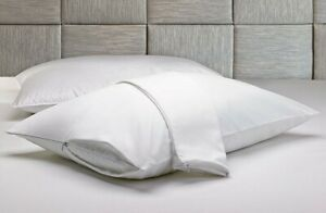 100% Cotton Pillow Protector King Size Pillow Cases Zippered Shams Set of 2 $12.99