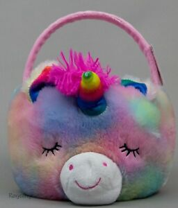 Easter Halloween 10 in Multi Color Unicorn Soft Plush Tote Basket NWT