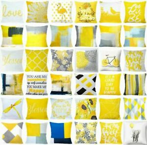 Yellow PILLOW COVER Home Decor Abstract Gray White Soft Bed Cushion Case 18x18