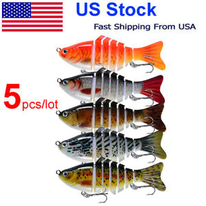 5pcs Bass Fishing Lures Multi Jointed Swimbaits Hard Body Wobblers 3.94in 0.55oz