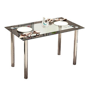 Modern Dining Table Glass Metal Legs Dining Room Kitchen Home Furniture Black