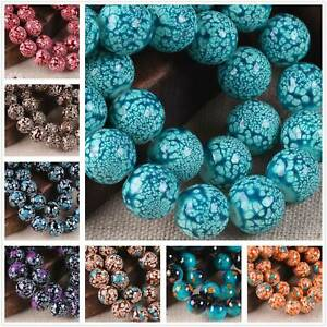8mm 10mm Round Glass Colorful Painted Loose Crafts Beads lot Jewelry Making DIY