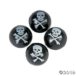 12 Pirate Skull Bones Bounce Balls Black and White Birthday Party Favors Toys
