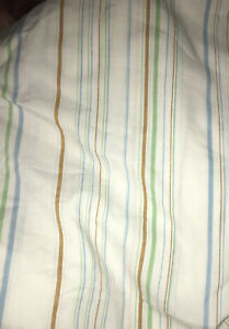 Vintage JP Stevens Utica Queen Flat & Fitted Sheet Set Blue Green Brown STRIPES