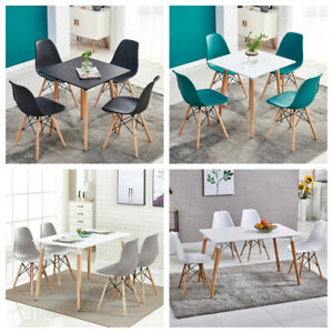 Contemporary Dining Set Table & 4 Chairs Set Wood Legs Dining Room Furniture New