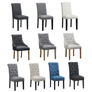 Set of 2/4/6 Pcs Fabric Accent Dining Chair Armchairs Button Tufted Wood Leg New