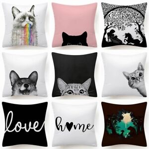 Black White Soft Cushion COVER Decorative Double Sided Throw Pillow Case 18x18quot; $7.86