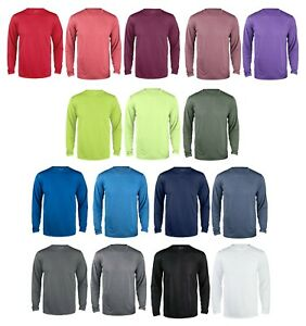 Reebok Mens Poly Wick dri fit Tee Work out Gym S 5XL Long Sleeve Sport T shirt $13.95