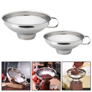 Stainless Steel Wide Mouth Filling Canning Funnel Hopper Fruit Tool Kitchen 1x