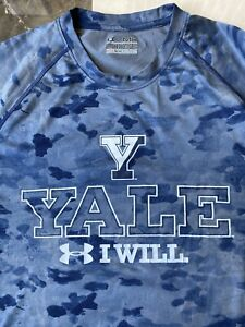 Men's Performance UNDER ARMOUR I WILL T Shirt YALE Blue Camo Sz MED Loose Fit $11.00