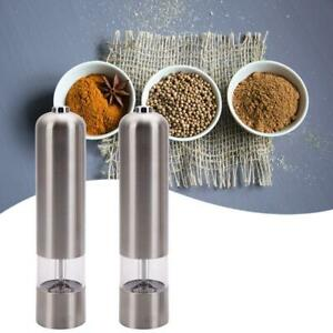 2x Stainless Steel Electric Pepper Mills Salt Spice Grinder Mullers Silver