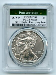 2020 P $1 American Silver Eagle 1oz Emergency Issue PCGS MS69 First Strike