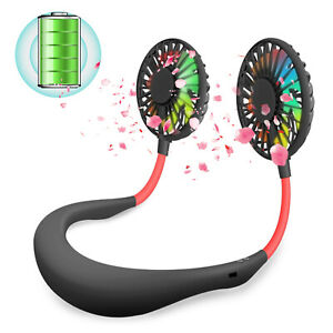 Mini Fan Portable USB Rechargeable Neckband Dual Cooling Lazy Neck Hanging LED