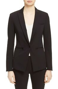 NEW VERONICA BEARD Black Scuba Stretch Knit Zip Pockets Dickey Blazer Jacket 16