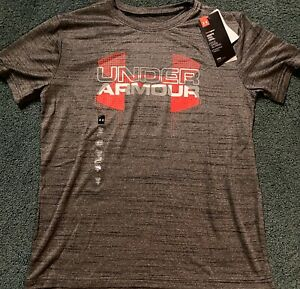 NWT Boys Under Armour L Heather Gray Red White Big LOGO Shirt YLG $14.99