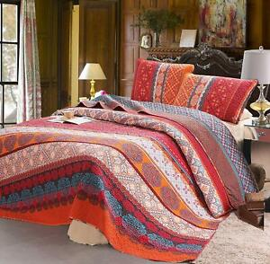 Boho Style 3 Pc Queen Quilt Set Orange Paisley Striped Quilt and Pillow Cases