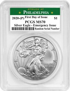 2020 (P) $1 Silver American Eagle PCGS MS70 FDOI Emergency Production $207.99