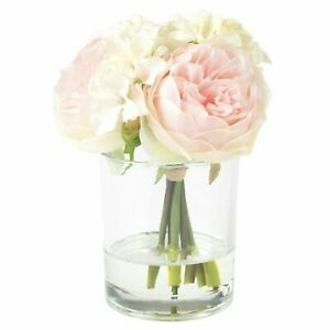 Floral Centerpiece in Glass Vase Hydrangea and Rose Flowers 7.5 x 5 Inch