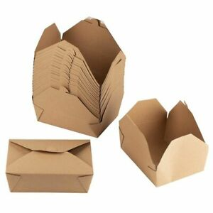 100-Pack 71oz Brown Kraft Paper Boxes Food Containers Wedding Gift Party Favors