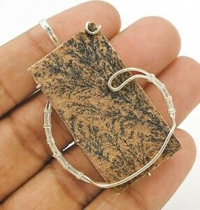 Natural Psilomelane Dendrite German 925 Sterling Silver Pendant Jewelry CD25-1