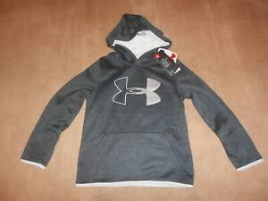 NEW, BOYS UNDER ARMOUR FLEECE LOGO PULL OVER HOODIE, COLD GEAR, SIZE SMALL 8 $20.00