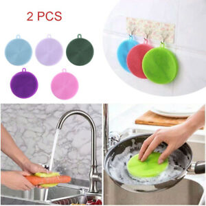 2 Pcs Silicone Dish Sponges Brush Kitchen Gadgets Cleaning Scrubber Tools