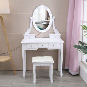 5 Drawers Makeup Vanity Table Set with 10 Lights Mirror Dressing Desk