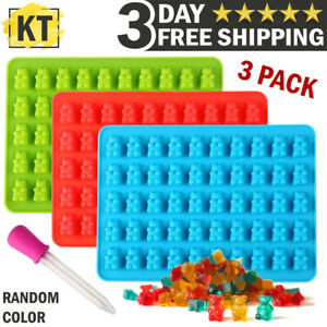 Gummy Bear Mold Candy & Ice Cube Tray Chocolate Maker 3 Silicone Molds Craft Kit