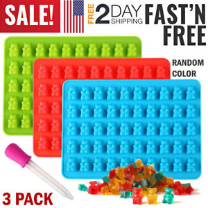 3 Silicone Candy Molds Gummy Bear Mold Jelly Chocolate Maker Tool Ice Cube Tray