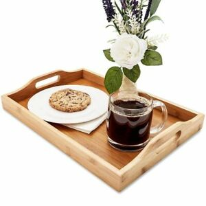 Juvale Wood Food Serving Tray with Handles 16 x 11 x 2quot; Serve Coffee Tea