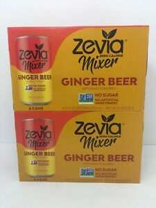 Zevia Zero Calorie Mixer Ginger Beer 6 Pack X2 12 Cans Total Non GMO New