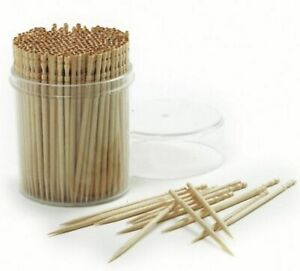 Norpro Ornate Wood Toothpicks 360 Pack Appetizer Skewers Include Plastic Holder