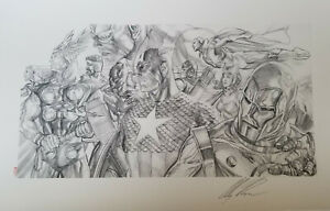 Alex Ross Signed Giclee of Sketch-Invincible-Original Avengers- CapIron Man $250.00