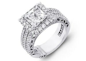 Designer Princess Cut Halo PLATINUM Semi Mount Unique 3 Rows of Diamonds design