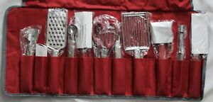 Wolfgang Puck Kitchen Garnishing Utensils Set of 11 in Red Roll-up Bag New