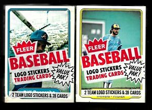 TWO 1982 Fleer Baseball Factory Sealed Cello Packs