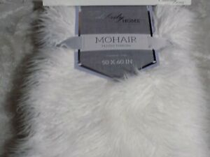Mohair Plush Throw Blanket 50x60 Cozy Soft Warm Bed Sofa White Lined NEW!