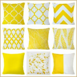 PILLOW COVER Yellow White Soft Home Decor 2 Sided Decorative Cushion Case 18x18quot; $7.86