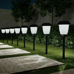 Set of 8 Solar Pathway LED Lights Black Stainless Steel Pole Garden Accent