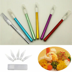 Cake Pastry Tools Engraving Cutter with 6pcs Blade Non-slip Knife Metal Scalpel