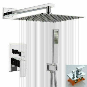 Chrome 2-Way Shower Set System 8'' Rainfall Head Hand Spray  Faucet Wall Mount