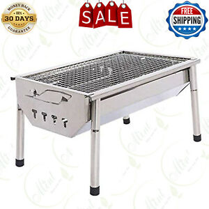 ISUMER Charcoal Grill Barbecue Portable BBQ - Stainless Steel Folding BBQ