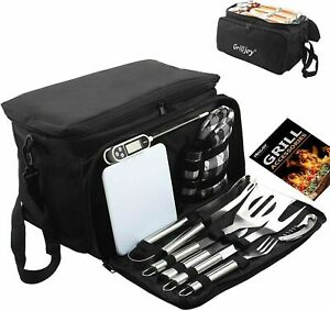 12 PCS BBQ Accessories Grill Tools Set Utensils Stainless Steel Kit Cooler Bag