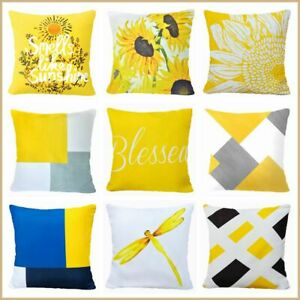 Yellow White PILLOW COVER Double Sided Sunflower Decorative Cushion Case 18x18