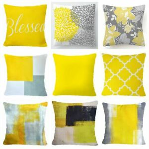 Yellow PILLOW COVER Home Decor Double Sided Gray Decorative Cushion Case 16x16
