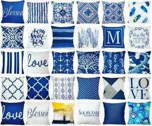 Cushion COVER Navy Blue White Soft Decorative Premium Throw Pillow Case 20x20quot; $8.86